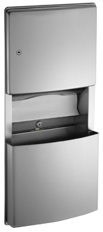 recessed paper towel dispenser removable waste receptacle 296 gallon removable stainless steel waste receptacle with tumbler lock